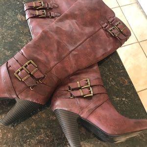"Like new Knee high maroon boots with 3 1/4"" heel"